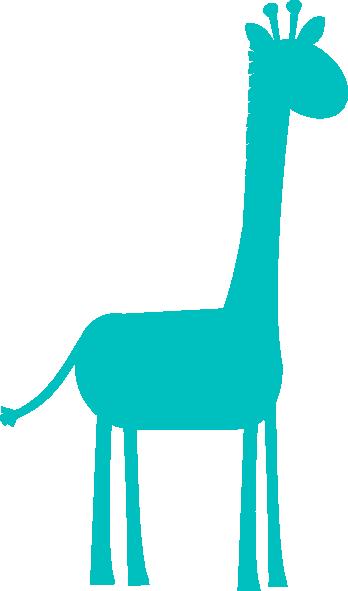 348x591 Aqua Giraffe Profile Clip Art