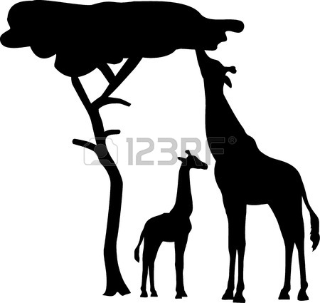 450x425 Giraffe Silhouette With Tree Royalty Free Cliparts, Vectors,