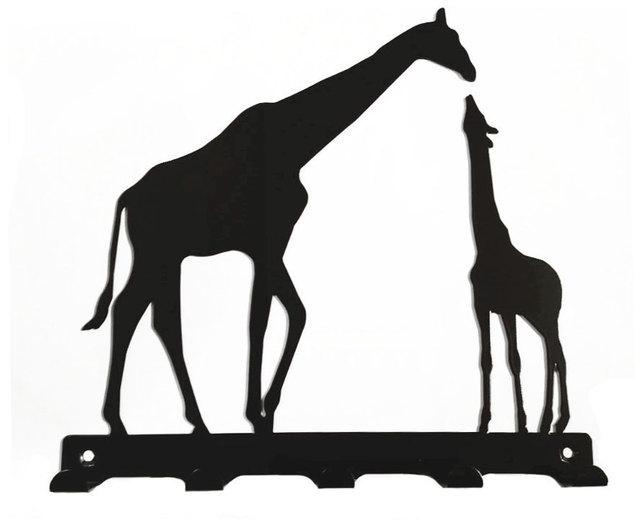 642x530 Mother And Baby Giraffe Silhouette Key Hook Rack