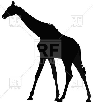 360x400 Black Silhouette Of Giraffe Royalty Free Vector Clip Art Image