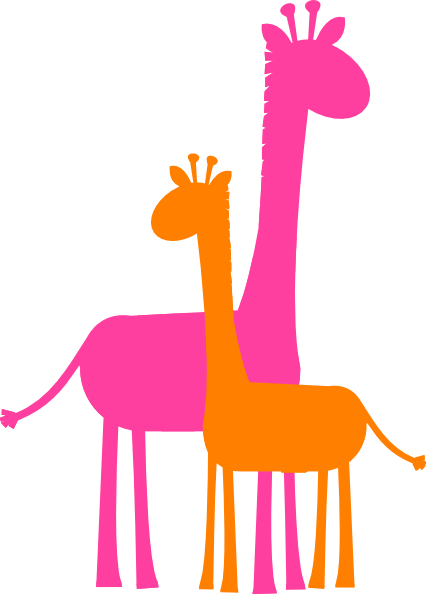 426x594 Mother And Baby Giraffe Sillouette Clip Art