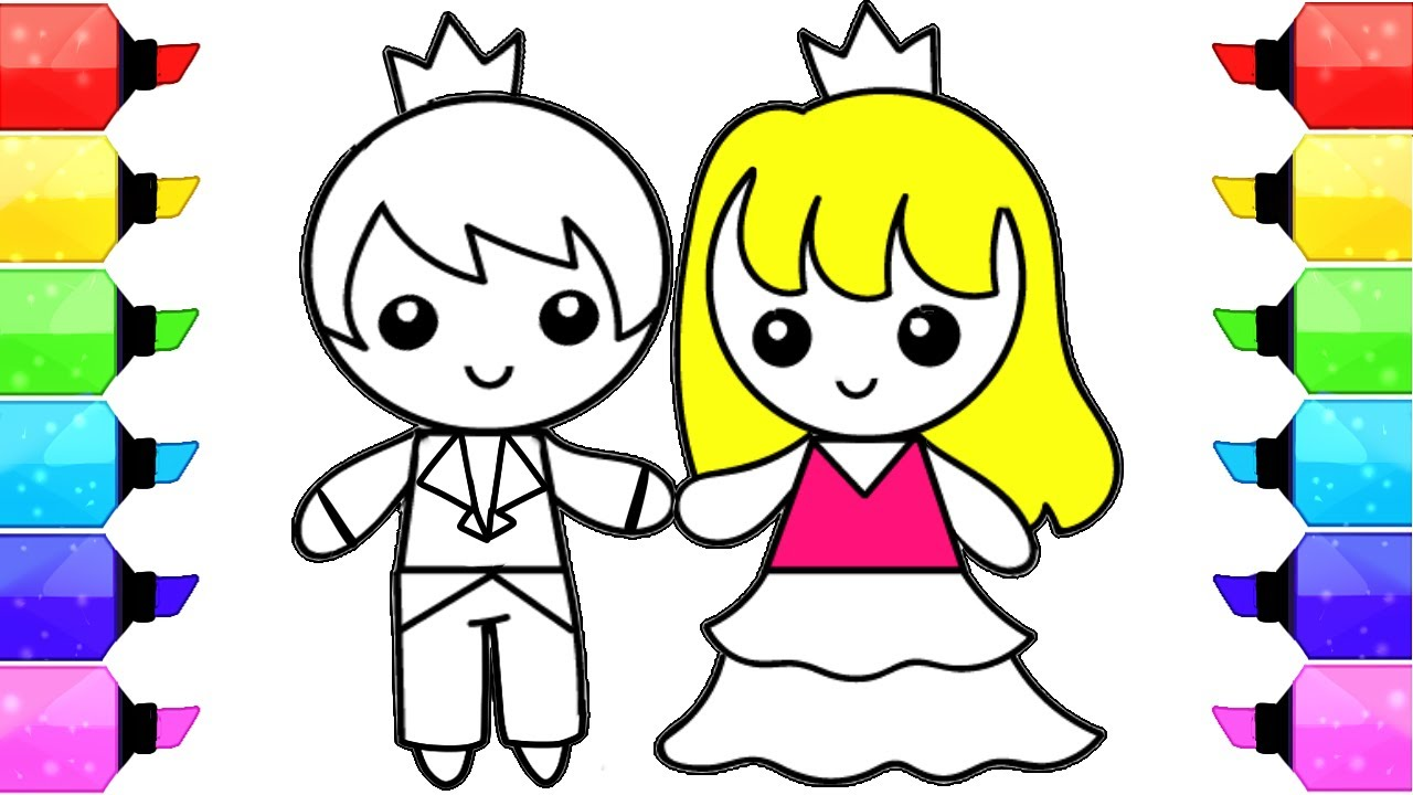 1280x720 Boy Girl Coloring Pages How To Draw Color Prince