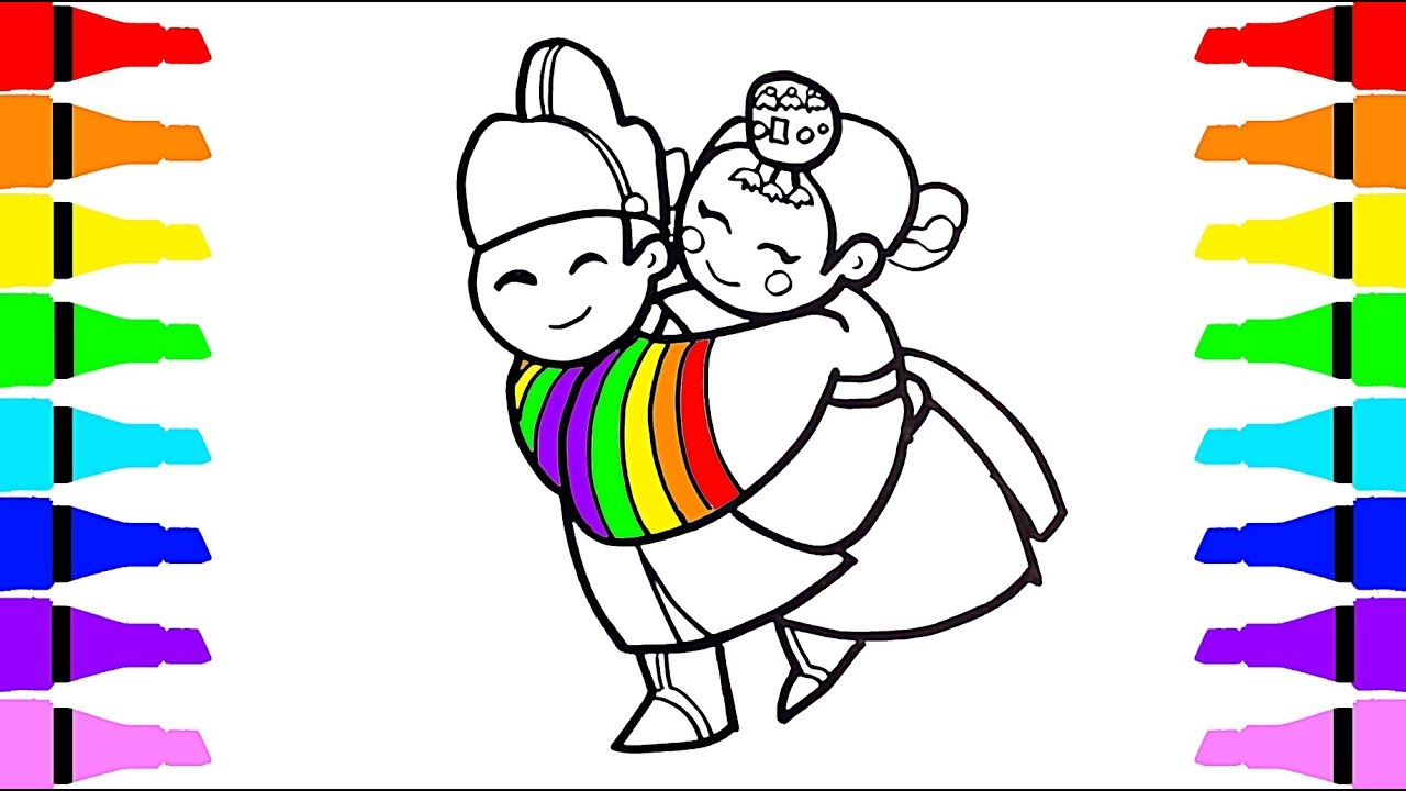1280x720 Coloring Korea Little Wedding Bride And Groom How To Draw Boy