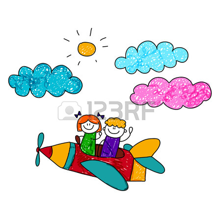 450x450 Happy Boy And Girl Fly In Pencil Airplane. Kids Drawing Royalty
