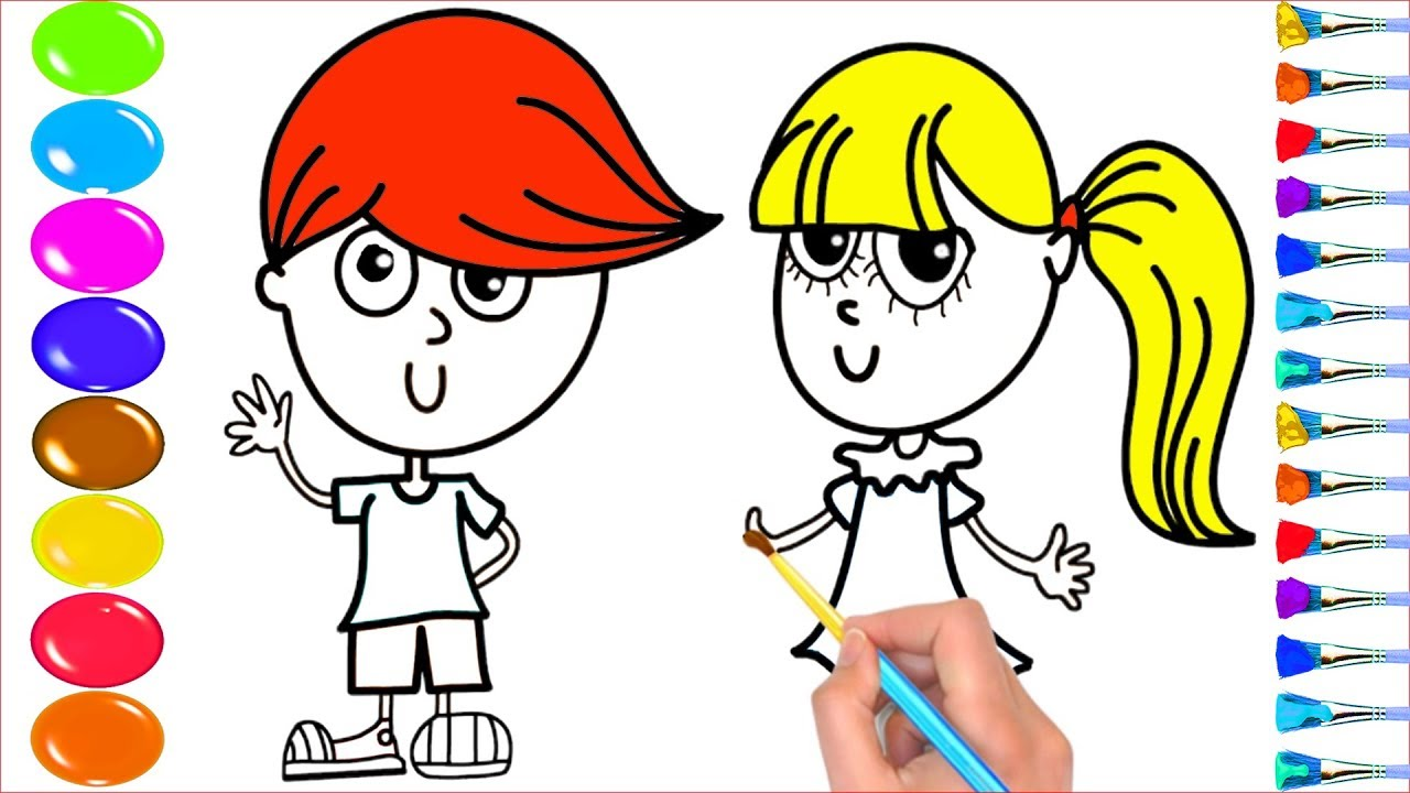 1280x720 How To Draw Boy And Girl Personality For Kids, Learn Colour