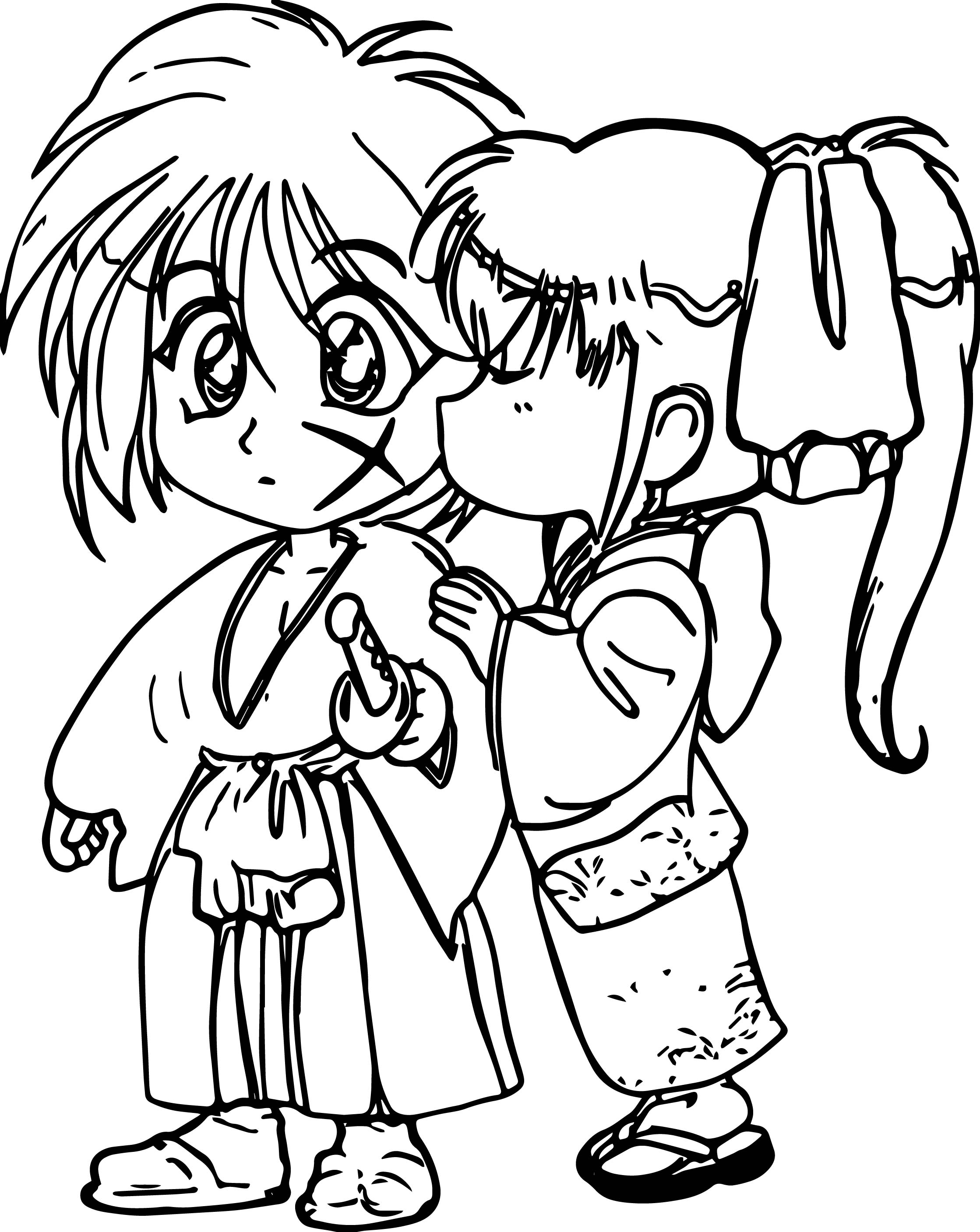 2238x2814 Manga Kids Girl Boy Shock Kiss Coloring Page Wecoloringpage