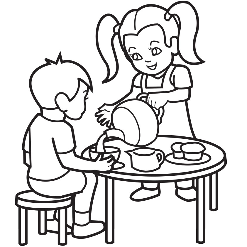 842x842 Boy And Girl Coloring Pages