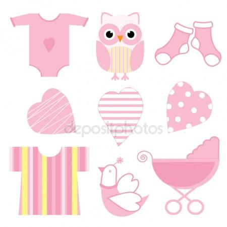 450x450 Baby Shower Illustration With Cute Pink Baby Owl, Baby Tools,