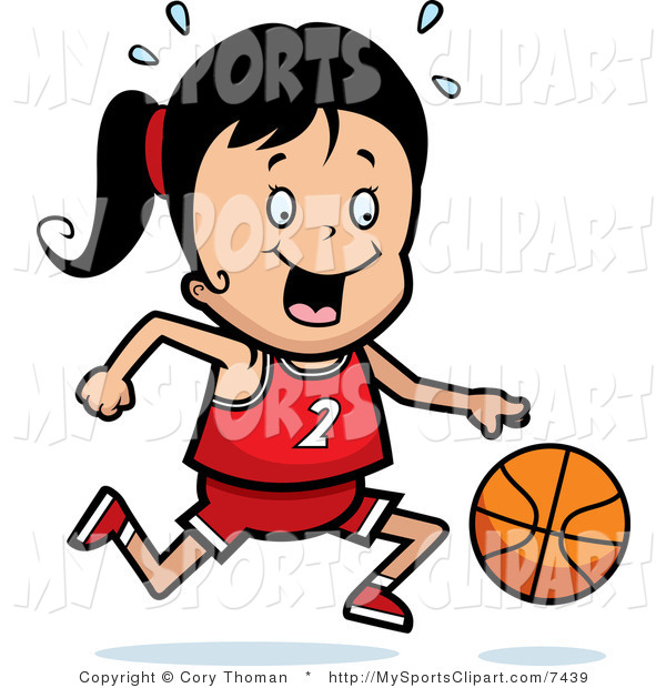 600x620 Sports Clip Art Of A Girl Dribbling A Basketball By Cory Thoman