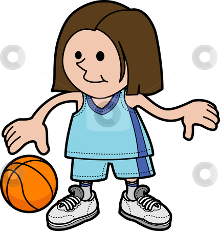 430x450 A Girl Playing Basketball Clipart