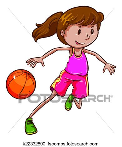 391x470 Clipart Of A Simple Coloured Sketch Of A Girl Playing Basketball