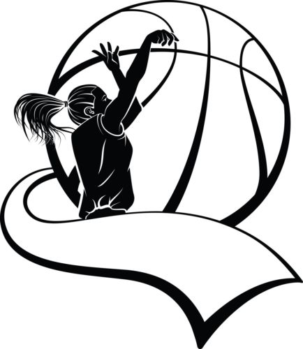 434x500 Female Basketball Player Silhouette Wall Art Sticker Present Gift