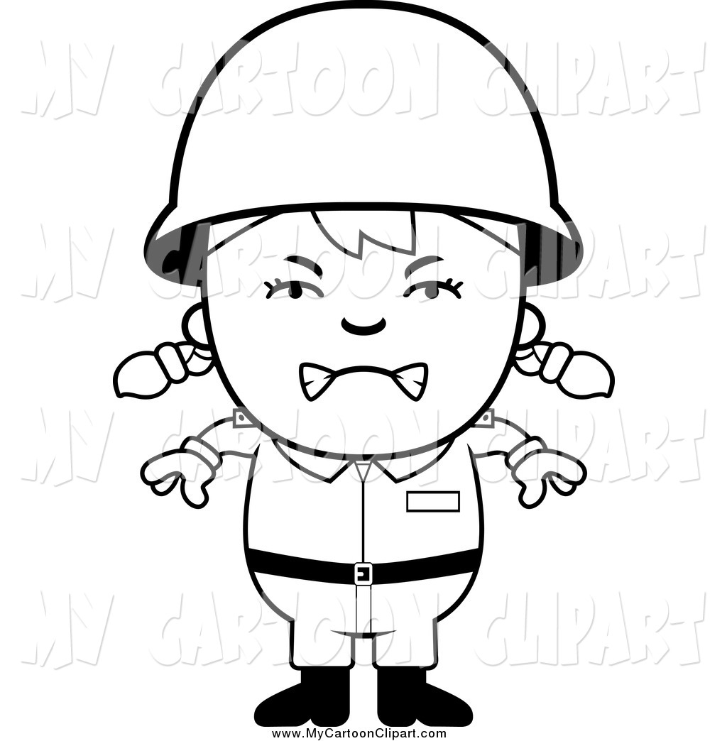 1024x1044 Clip Art Of A Black And White Mad Army Girl By Cory Thoman