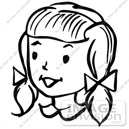 450x450 Clipart Of A Happy Retro Girl In Black And White