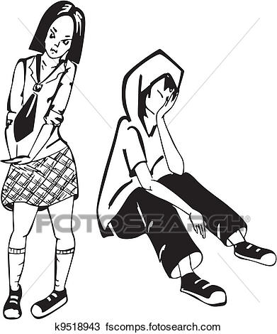 391x470 Clipart Of Sad Boy And Girl. Black And White Vector Illustration