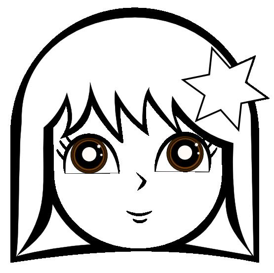 555x553 Clip Art Cute Girl Black White Line Super Duper Svg