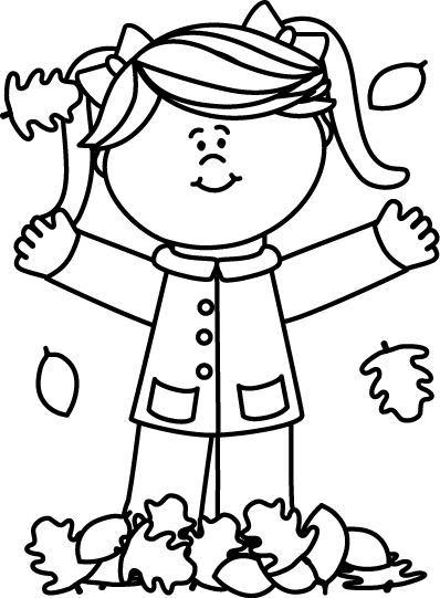 398x541 Black And White Girl Playing In Leaves Clip Art