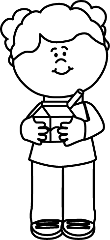 224x488 Black And White Girl With A Carton Of Milk Clip Art