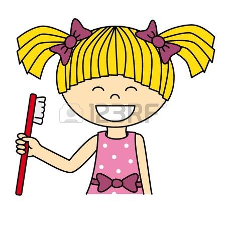 Girl Brushing Hair Clipart