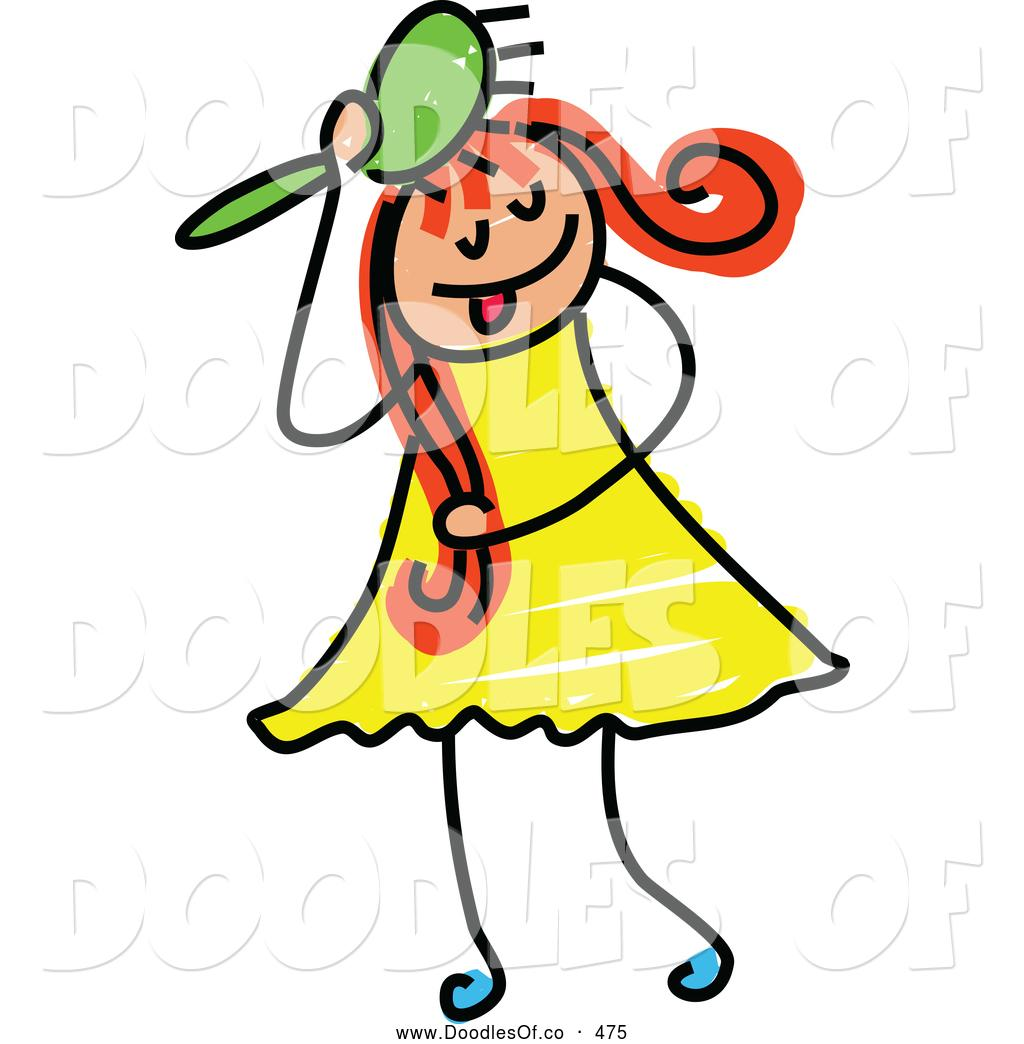 1024x1044 Girl Brushing Her Hair Clipart
