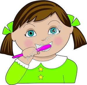 300x294 Girl Clipart Brushing Tooth