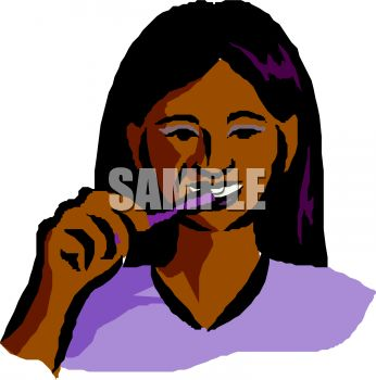 346x350 Latino Girl Brushing Her Teeth