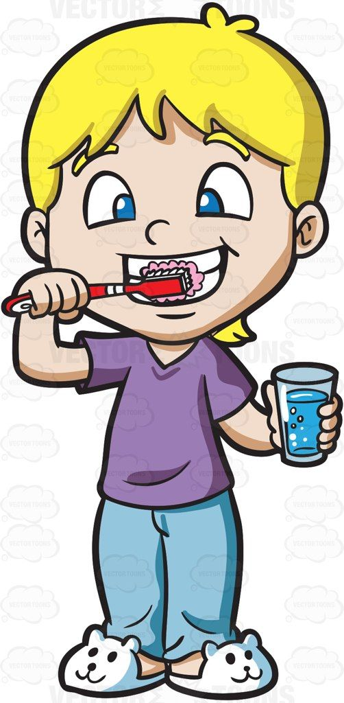 502x1024 People Clipart Brushing Tooth