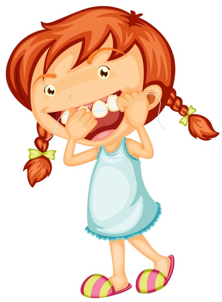 Girl Brushing Teeth Clipart