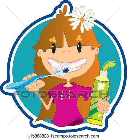 430x470 Clip Art Of Cute Little Girl Washing Teeth K15888828