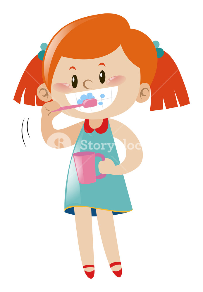 694x1000 Girl Brushing Teeth With Toothbrush Illustration Royalty Free