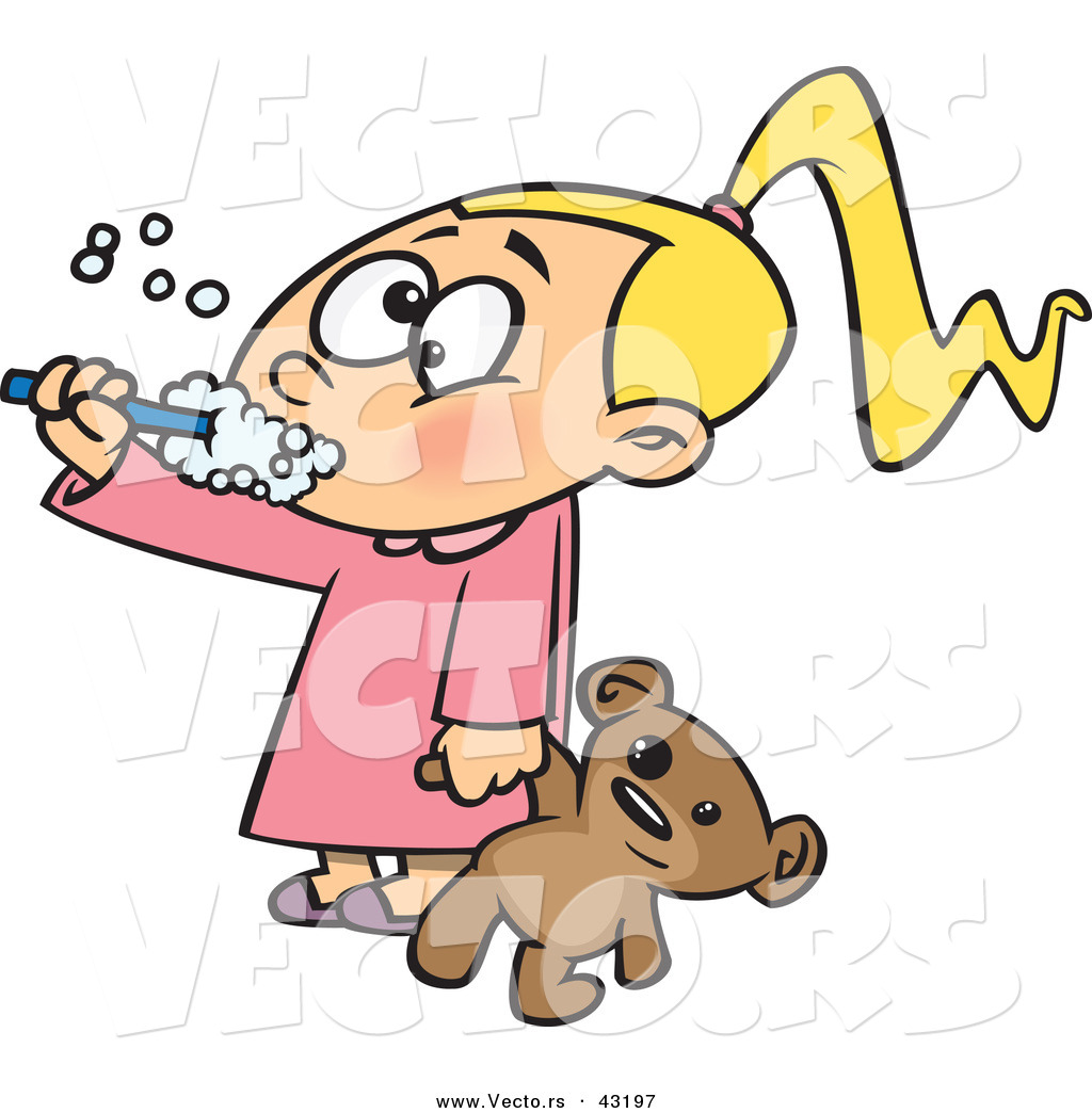 1024x1044 Vector Of A Cartoon Girl Brushing Her Teeth While Holding A Teddy