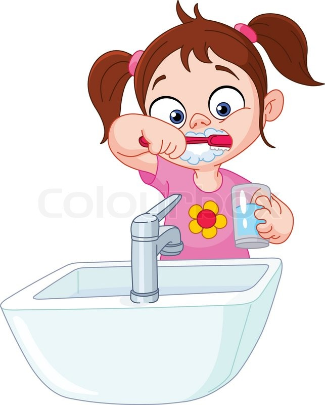 643x800 Young Girl Brushing Her Teeth Stock Vector Colourbox