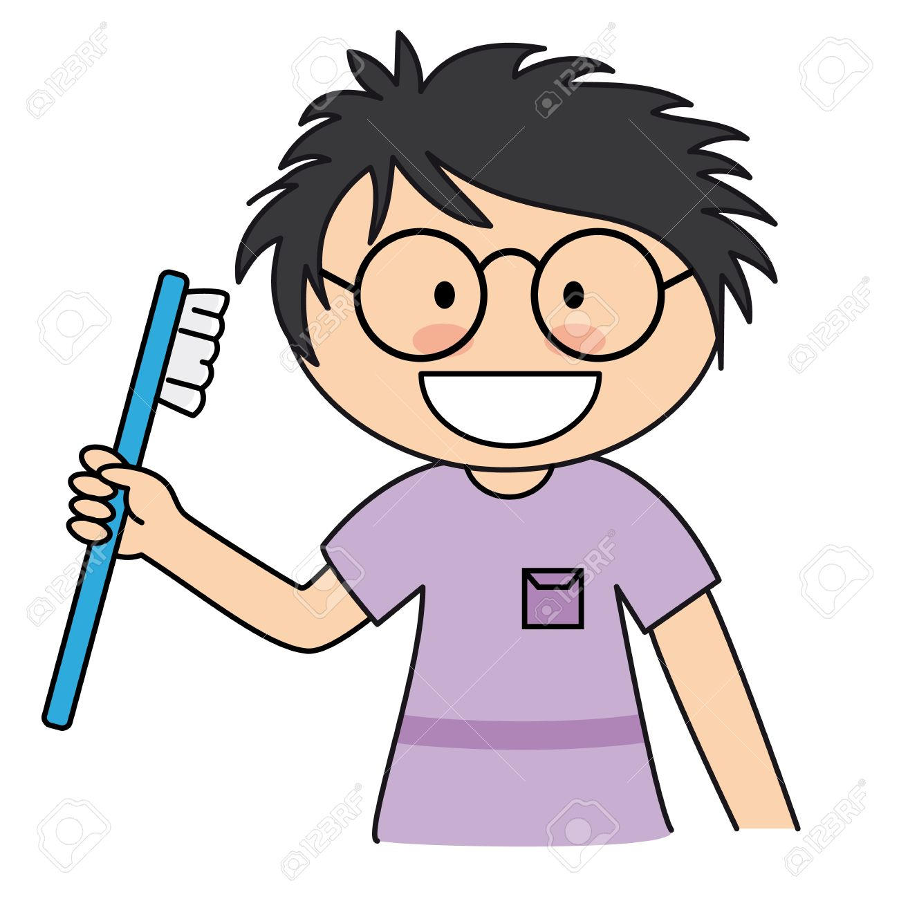 1300x1300 Boy Brushing Her Teeth Royalty Free Cliparts, Vectors, And Stock