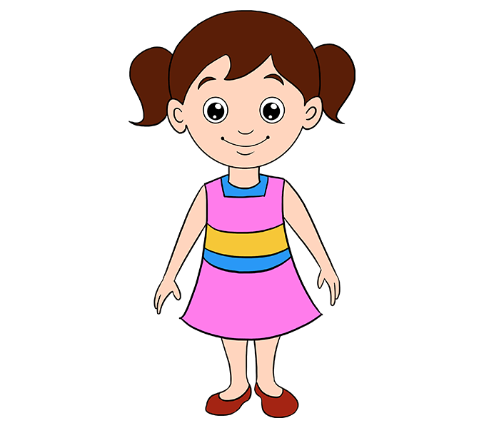678x600 How To Draw A Cartoon Girl In A Few Easy Steps Easy Drawing Guides