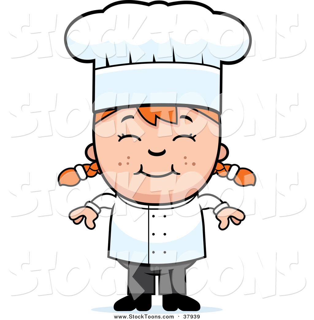 1024x1044 Stock Cartoon Of A Happy Red Haired White Chef Girl Smiling By