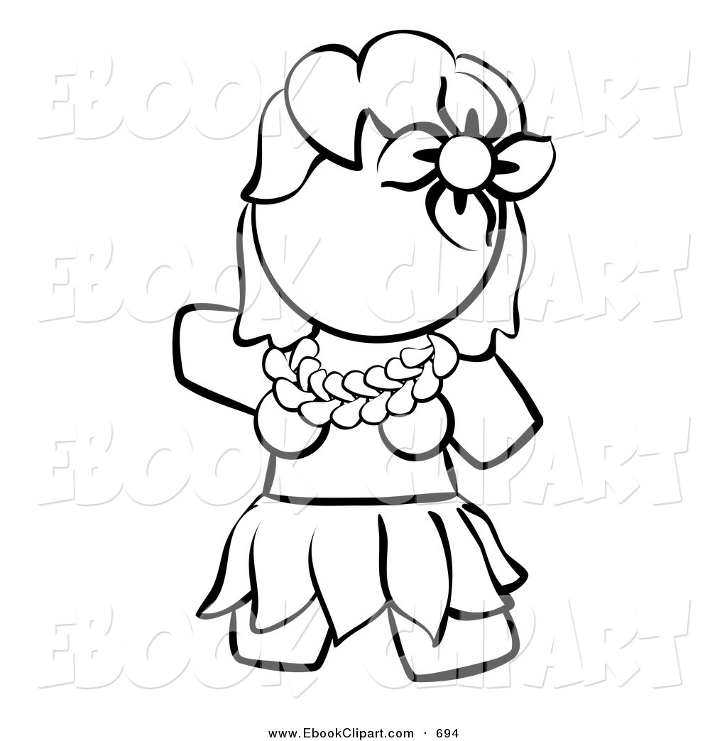 1024x1044 Hula Girl Black And White Clipart