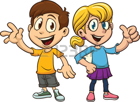 450x329 Cartoon Boy And Girl Waving. Vector Clip Art Illustration