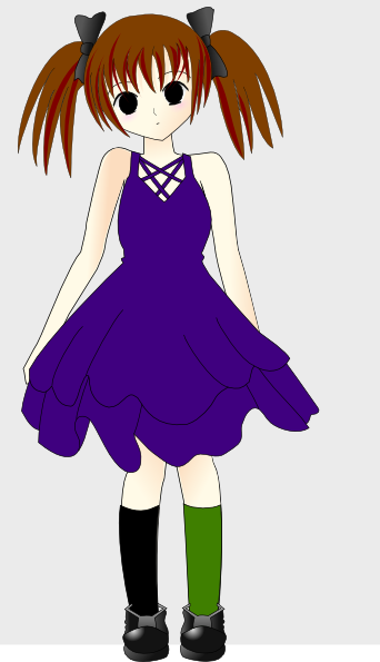 342x595 Emo Girl In Blue Dress Clip Art