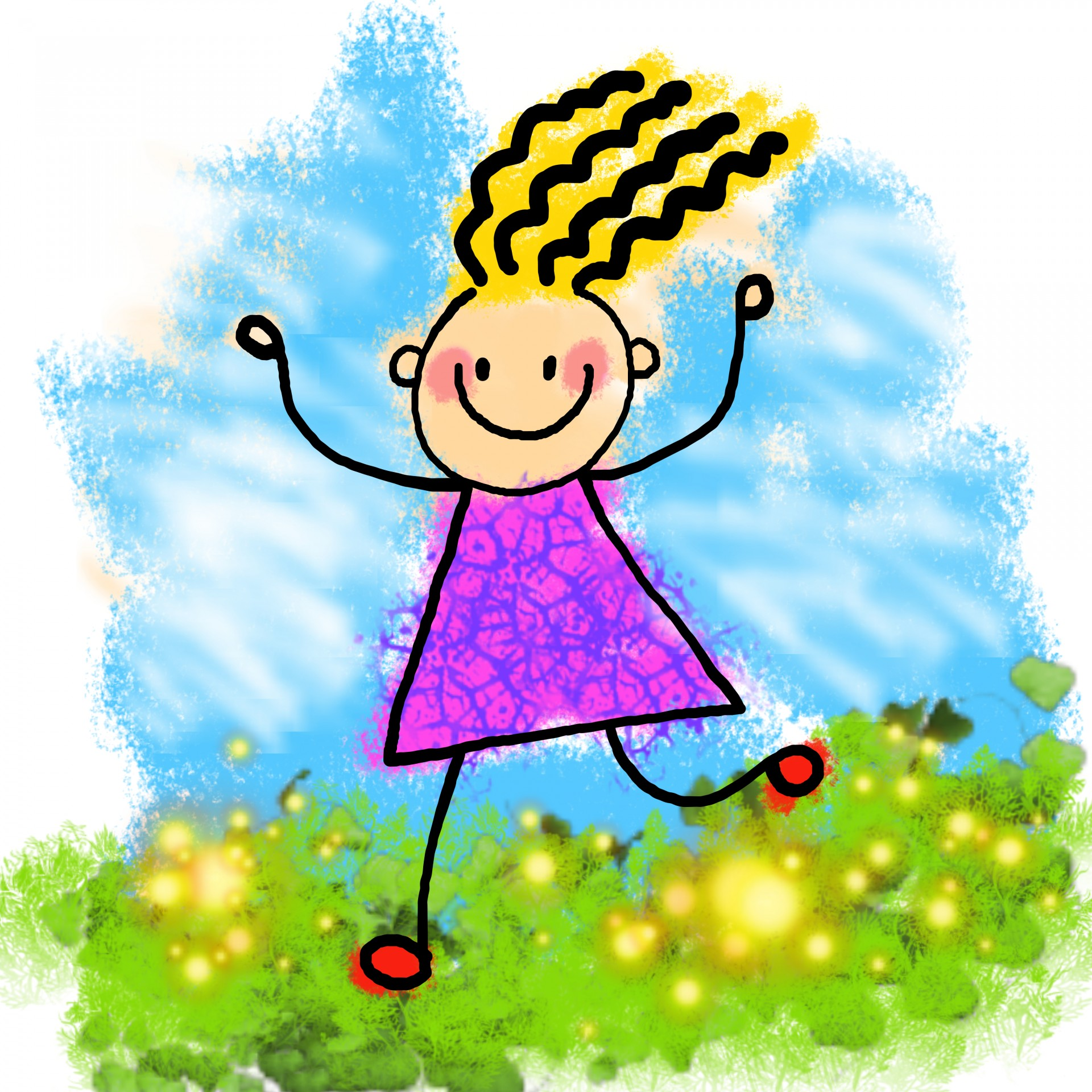 1920x1920 Happy Stick Girl Clip Art Free Stock Photo