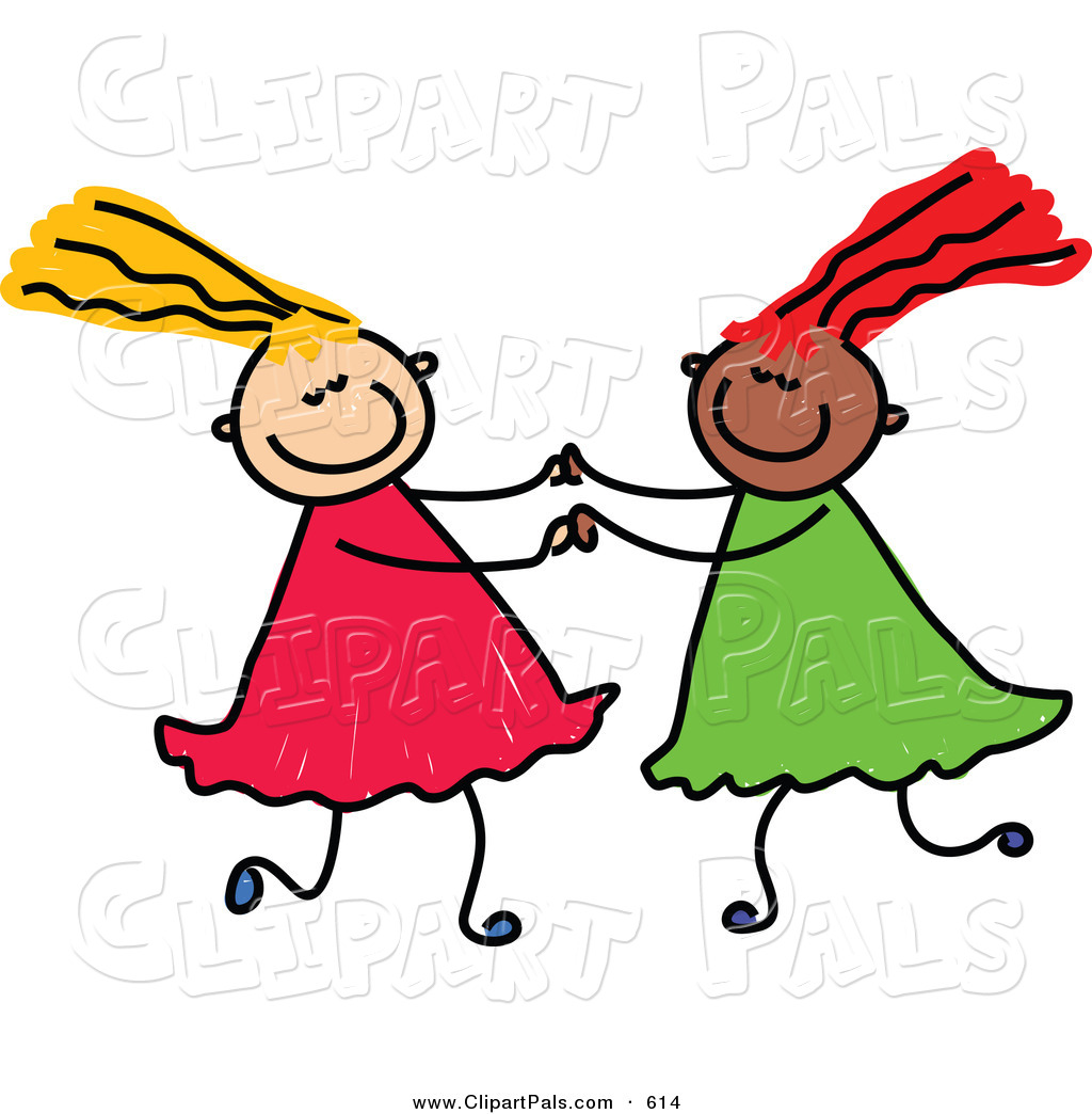 1024x1044 Pal Clipart Of A Childs Sketch Of Two Girls Playing Together,