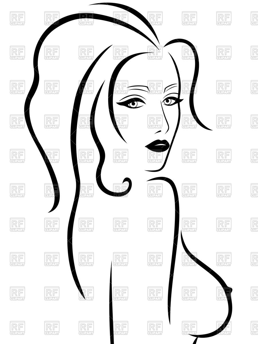 900x1200 Outline Of Woman With Naked Breast Royalty Free Vector Clip Art