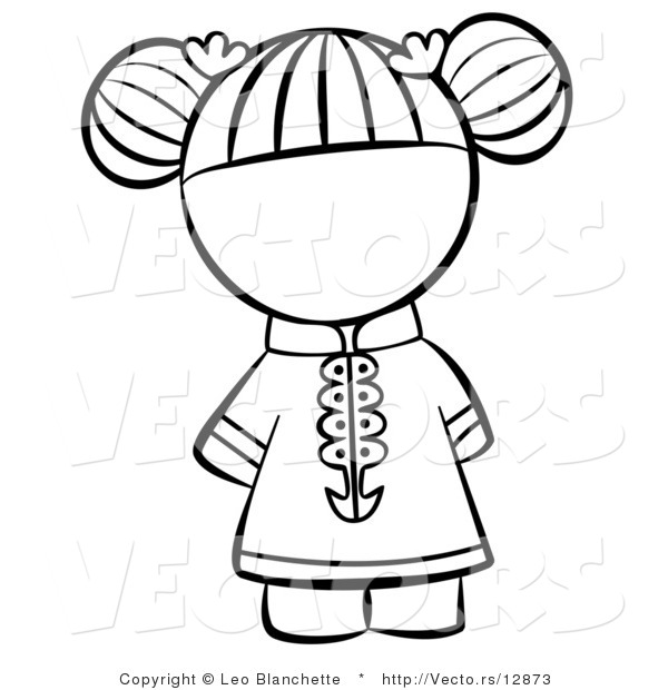 600x620 Vector Of Chinese Girl With Hair Tied Up