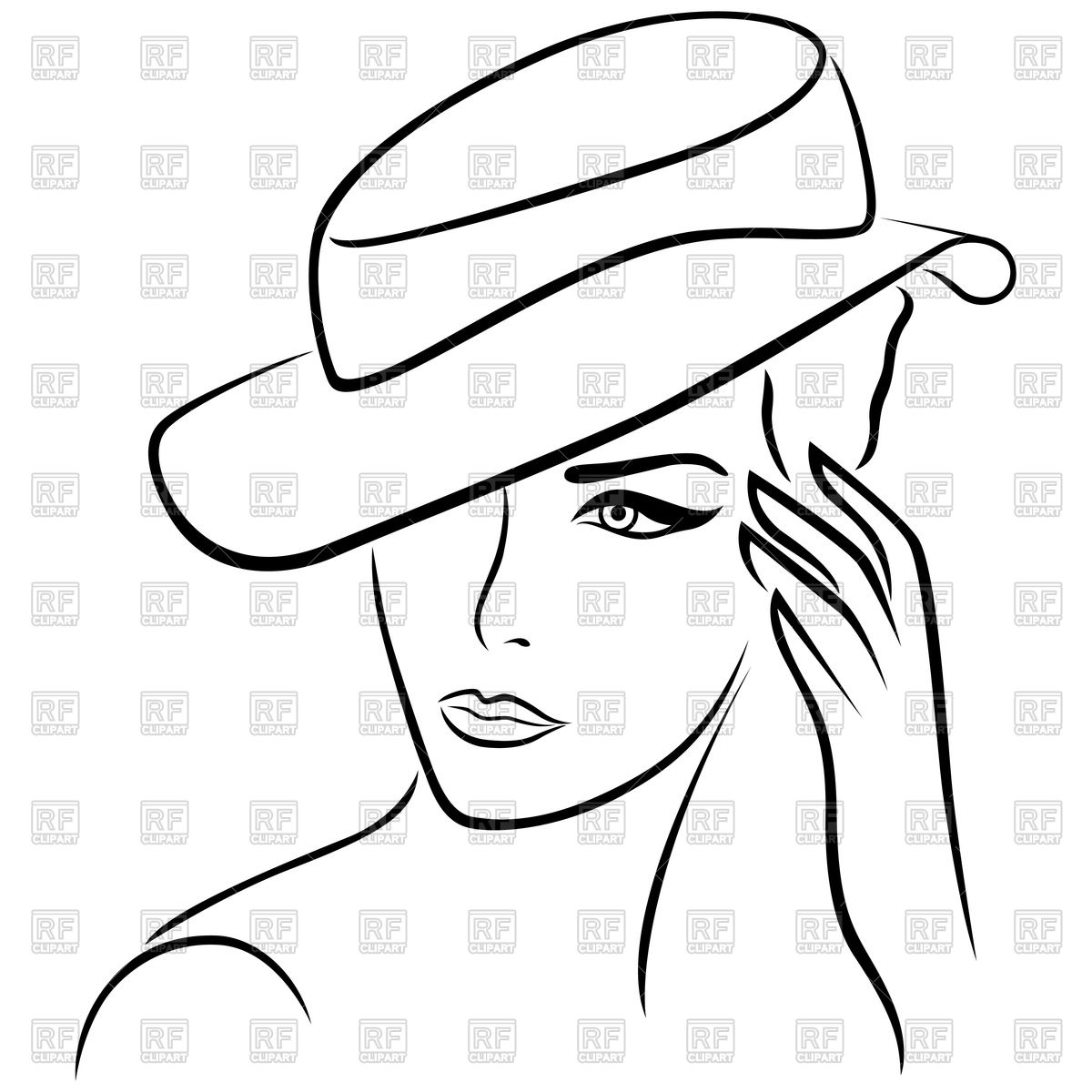 1200x1200 Elegant Young Girl In Hat, Outline Royalty Free Vector Clip Art