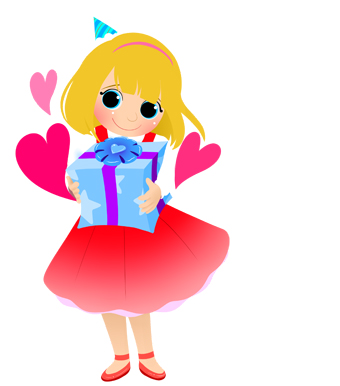 340x386 Birthday Girl With Gift Clip Art