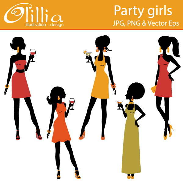 600x600 Girl Party Clipart