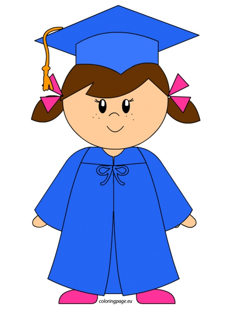 757x1024 Kindergarten Graduate Girl Clip Art Coloring Page Pertaining