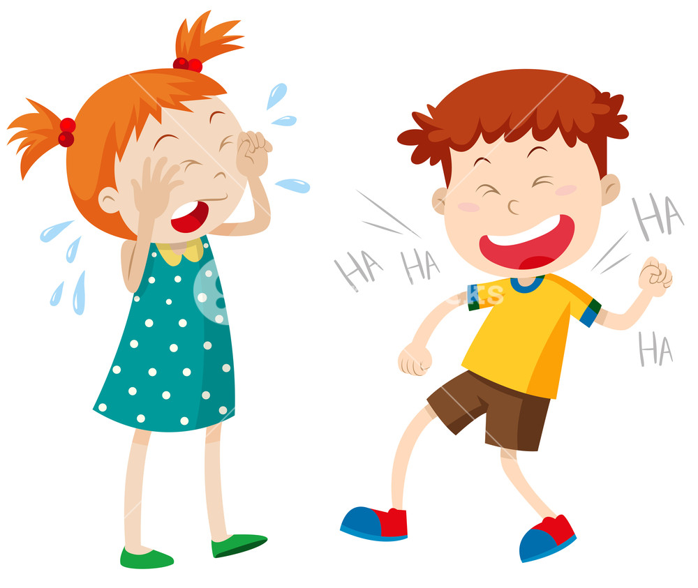 1000x843 Girl Crying And Boy Laughing Illustration Royalty Free Stock Image