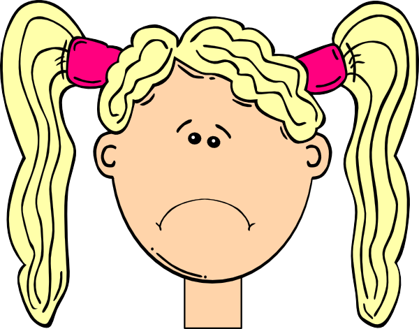 600x471 Sad Girl With Blonde Hair And Pigtails Clip Art