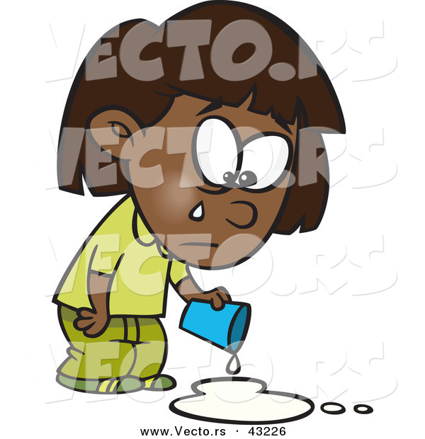 600x620 Vector Of A Sad Cartoon Black Girl Crying Over Spilled Milk By