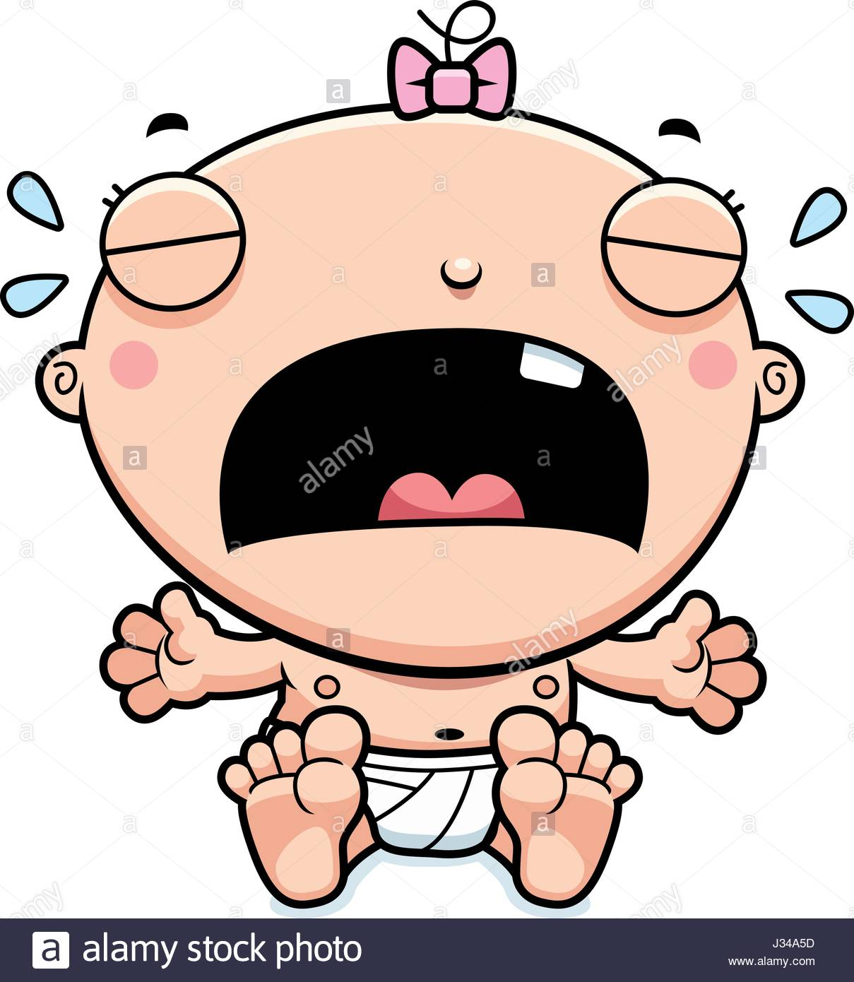 1209x1390 A Cartoon Illustration Of A Baby Girl Crying Stock Vector Art